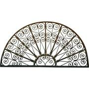 Antique French Colonial Wrought Iron Arched Architectural Transom C. 1860