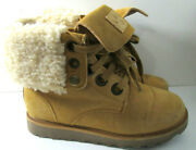 Bearpaw 1662 Kay Hickory Suede Sherpa Lined Fold Over Leather Boots Womens Sz 8