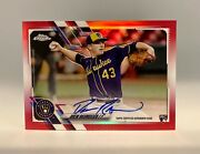 2021 Topps Chrome Drew Rasmussen Red /5 Rookie Auto, Tampa Bay Flamethrower