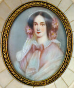 Lovely Miniature Antique Portrait Painting Of A Young Lady In Piano Keys Frame
