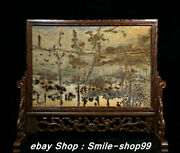 16.9 Old China Boxwood Wood Shorts Stone Carving Flower Plants Screen Statue