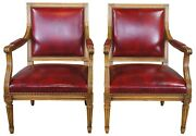 2 Vintage French Louis Xvi Walnut And Red Leather Office Library Club Arm Chairs