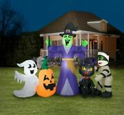 Huge 12 Ft Witch And Friends Halloween Inflatable Light Up Yard Decor- Gemmy