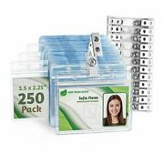 Horizontal Pvc Id Badge Holder With Metal Clips And 250 Horizontal 3.5x2.25