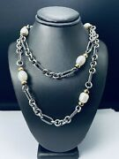 David Yurman Sterling Silver 18k 750 34 Pearl Cable Link Necklace G1734