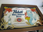 Vintage Pabst Blue Ribbon Beer Large Framed Mirror 41 X 29 Lady 60's Rare