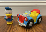 Fisher Price Little People Donald Duck Bouncing Car And Figure Lot Magic Disney