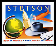 Stetson By Razzia 4x6 Ft Original Vintage Advertising Poster