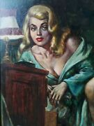 Sexy Noir Dame In Bed - 1950s Paperback Book Cover Art - Joseph Fallat