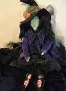 Vtg Gothic Halloween Witch Doll Shelf Sitter Cloth Hand Painted Face Ooak Htf