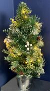 61cm Tall Christmas Tree Led Lights Snow Tipped Pre Lit Artificial Tree Battery