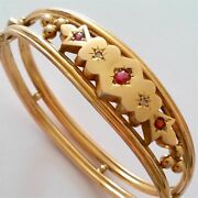 Old Antique Victorian 9k Solid Yellow Gold Diamond And Ruby Bracelet