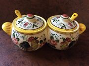 Vintage Jam Jelly Condiments Rooster And Roses Py Ucagco Early Provincial Japan
