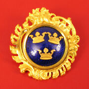 Antique Swiss Coat Of Arms Gilt Brooch Pin Three Crowns On Blue Enamel Sporrong