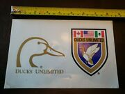 New Set Of 2 Ducks Unlimited Decals Gold Duck Head Crest Usa Canada Mexico