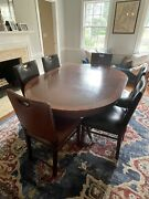 Dining Room Set. Pedestal Table With Six Chairs. English Style.