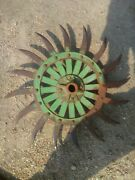 Vintage John Deere Rotary Hoe Wheel Farm Implement Steampunk Collectible Usa
