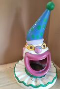 Vintage Carnival Clown Head Trash Can Lid Circus Garbage Cover Amusement Park