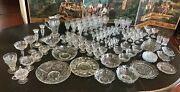 A Early 20th C Group Of 104 Pieces Of Mckee Glass Clear Rock Crystal Stemware