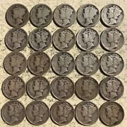 25 Circulated 90 Silver Mercury Dimes Different Dates And/or Mintmarks 1916-1945