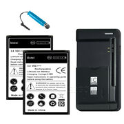 2x 5170mah Extended Slim Battery Charger For Samsung Galaxy S4 Mini S890l Phone