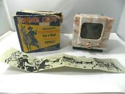 Hopalong Cassidy Automatic Wind Up Toy Television By Automatic Toy Co.and Box