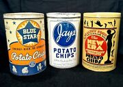 Vintage 1940andrsquos 50s Blue Star Jays New Era Potato Chip Old Tin Can Sign Nice Ones