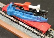 Lionel Trains Post War Car 6650 Irbm Missile Launcher Flat Car Red And Blue 895