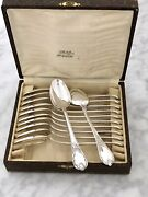 Christofle Marly Silver Plated Coffee/tea Set Of 12 Spoons In Original Box