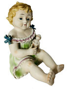 Antique Bisque Porcelain Heubach German Piano Baby Holding Baby Doll 12 Euc