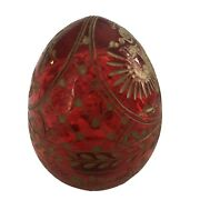 Handcrafted Ruby Red Glass Imperial Eagle Modern Russian Faberge Egg
