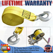 2x20and039 Heavy Duty 10000lb Max Winch Tow Strap W/ Snap Hook For Auto Car Suv Boat