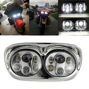 Motorcycle Led Dual Projector Headlight Lamp Fit For Harley Road Glide 2004-2013