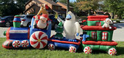 16and039 Gemmy Rudolph Express Train Animated Lighted Christmas Airblown Inflatable
