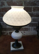 Vintage Quilted Hobnail Milk Glass Lamp With Marble Base In Working Condition