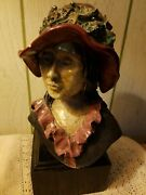 Signed Antique Mid Century Female Lady Bust Plaster Sculpture Wood Base Display