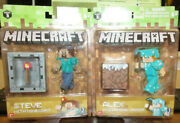Lot Of 2 Series 3 Steve With Minecart And Alex In Diamond Armor 2016 Minecraft