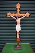 + Large Older Traditional Crucifix + Altar Cross + 41 1/2 Ht. Sl18 Chalice Co