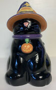 Halloween Black Cat In Witches Hat Cookie Jar Harry And David Holiday Euc