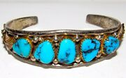 Old Pawn Navajo Turquoise Row Cuff Bracelet Sterling Silver Gold Accent Signed