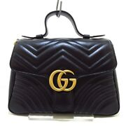 Auth Gg Marmont Small Top Handle Bag 498110 Black Leather