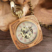 Square Wooden Mechanical Pocket Watch Chains Luxury Red Wooden Hand Winding Skel