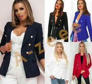 Womens Gold Button Heavy Blazer Double Breasted Ladies Formal Office Jackets Mxn