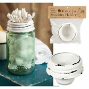 Mason Jar Rustic Tapered Cup Lid Attachment Accessory - White