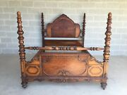 Antique Jacobean Style Mahogany Double/full Poster Bed