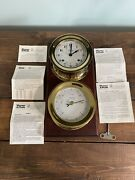 Weems And Plath Atlantis Collection 8 Day Clock And Barometer Ships Bells Brass