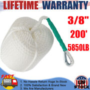 3/8x200and039 Twisted Three Strand Nylon Anchor Rope W/ Thimble 5850lb For Boat Car