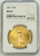 1927 Gold 20 Saint Gaudens Double Eagle Coin Ngc Mint State 64