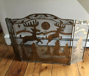 Rustic Metal Heavy Fireplace Screen With Rein Deer And Xmas Trees Design 9 Candles