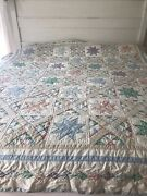 Queen Quilt Patchwork Cotton Star Cottage French Country Farmhouse Arch